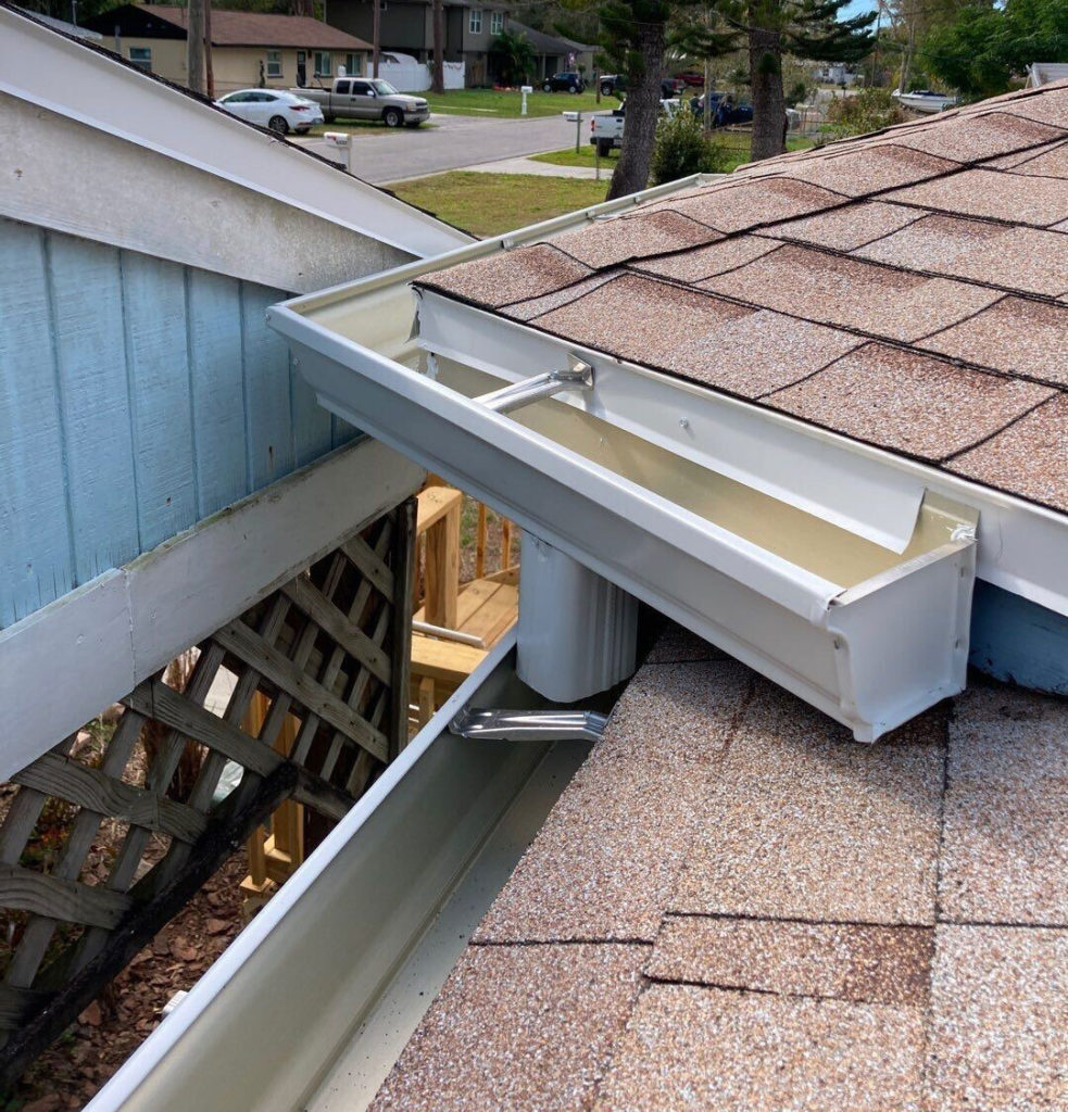 new seamless gutters on a house